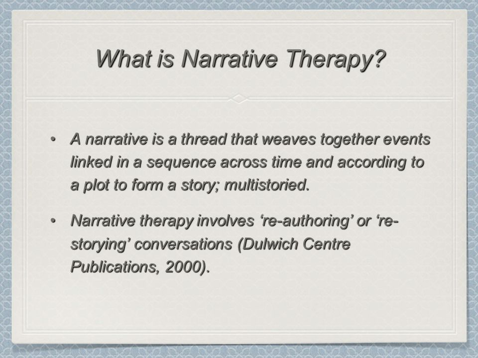 A narrative is a thread that weaves together events linked in a sequence across time and according to a plot to form a story; multistoried.A narrative is a thread that weaves together events linked in a sequence across time and according to a plot to form a story; multistoried.