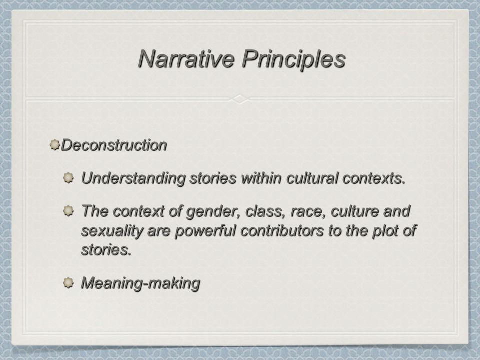Deconstruction Understanding stories within cultural contexts.