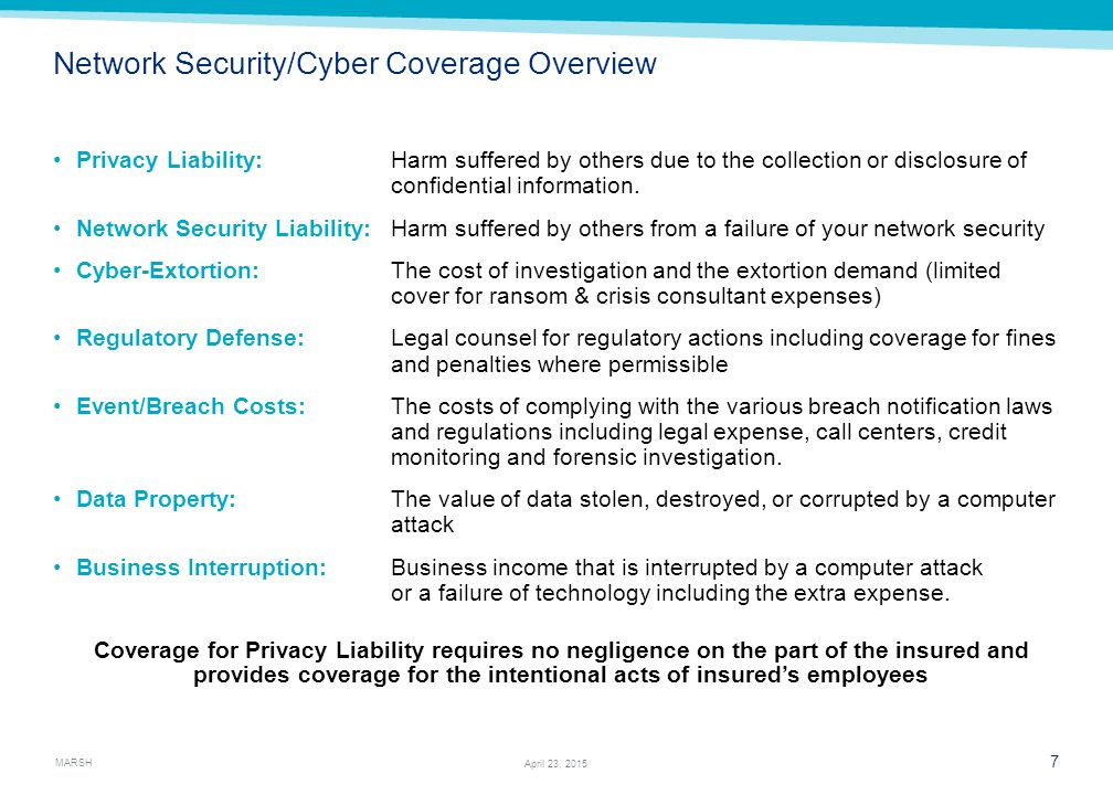 MARSH 7 April 23, 2015 Network Security/Cyber Coverage Overview Privacy Liability:Harm suffered by others due to the collection or disclosure of confi