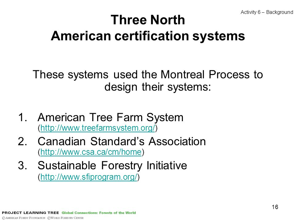 16 Three North American certification systems These systems used the Montreal Process to design their systems: 1.American Tree Farm System (http://www.treefarmsystem.org/)http://www.treefarmsystem.org/ 2.Canadian Standard's Association (http://www.csa.ca/cm/home)http://www.csa.ca/cm/home 3.Sustainable Forestry Initiative (http://www.sfiprogram.org/)http://www.sfiprogram.org/ Activity 6 – Background