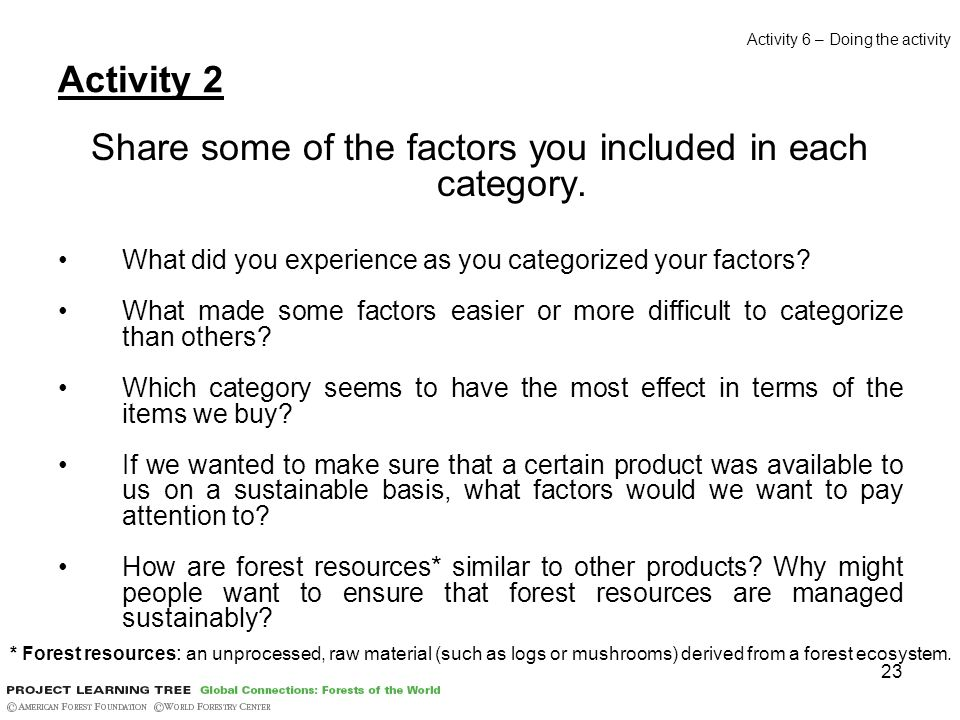 23 Activity 2 Share some of the factors you included in each category. What did you experience as you categorized your factors? What made some factors