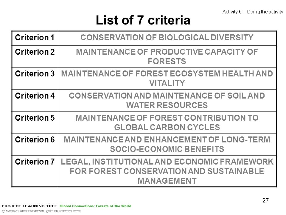27 List of 7 criteria Criterion 1CONSERVATION OF BIOLOGICAL DIVERSITY Criterion 2MAINTENANCE OF PRODUCTIVE CAPACITY OF FORESTS Criterion 3MAINTENANCE OF FOREST ECOSYSTEM HEALTH AND VITALITY Criterion 4CONSERVATION AND MAINTENANCE OF SOIL AND WATER RESOURCES Criterion 5MAINTENANCE OF FOREST CONTRIBUTION TO GLOBAL CARBON CYCLES Criterion 6MAINTENANCE AND ENHANCEMENT OF LONG-TERM SOCIO-ECONOMIC BENEFITS Criterion 7LEGAL, INSTITUTIONAL AND ECONOMIC FRAMEWORK FOR FOREST CONSERVATION AND SUSTAINABLE MANAGEMENT Activity 6 – Doing the activity
