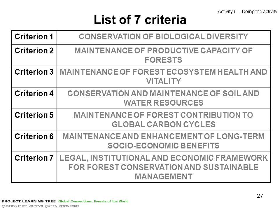 27 List of 7 criteria Criterion 1CONSERVATION OF BIOLOGICAL DIVERSITY Criterion 2MAINTENANCE OF PRODUCTIVE CAPACITY OF FORESTS Criterion 3MAINTENANCE
