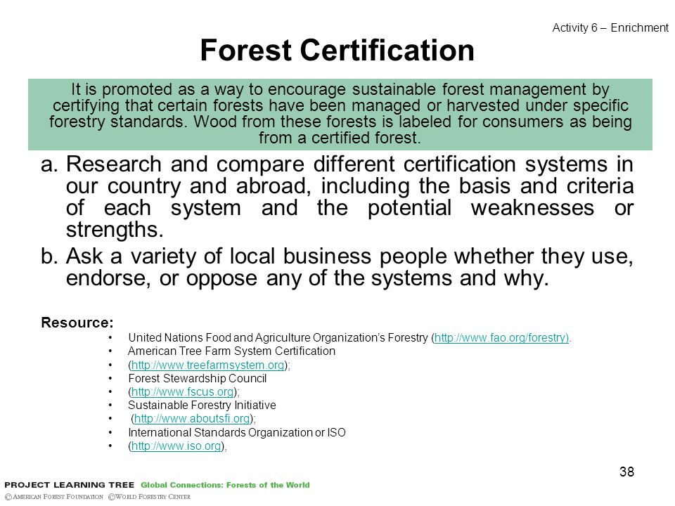 38 Forest Certification a.Research and compare different certification systems in our country and abroad, including the basis and criteria of each system and the potential weaknesses or strengths.