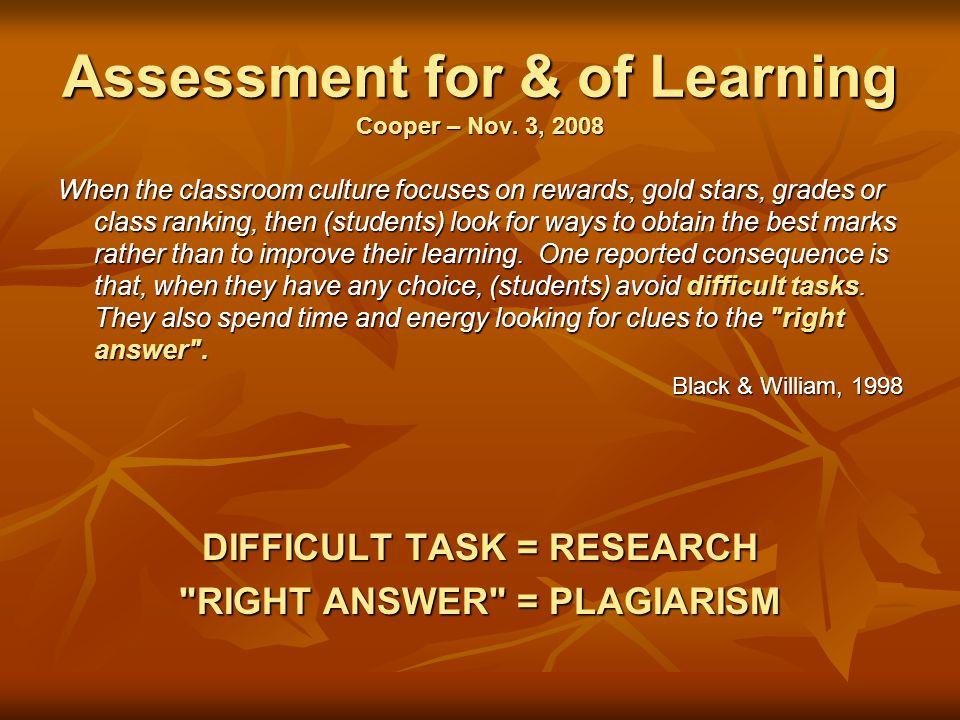 Assessment for & of Learning Cooper – Nov.