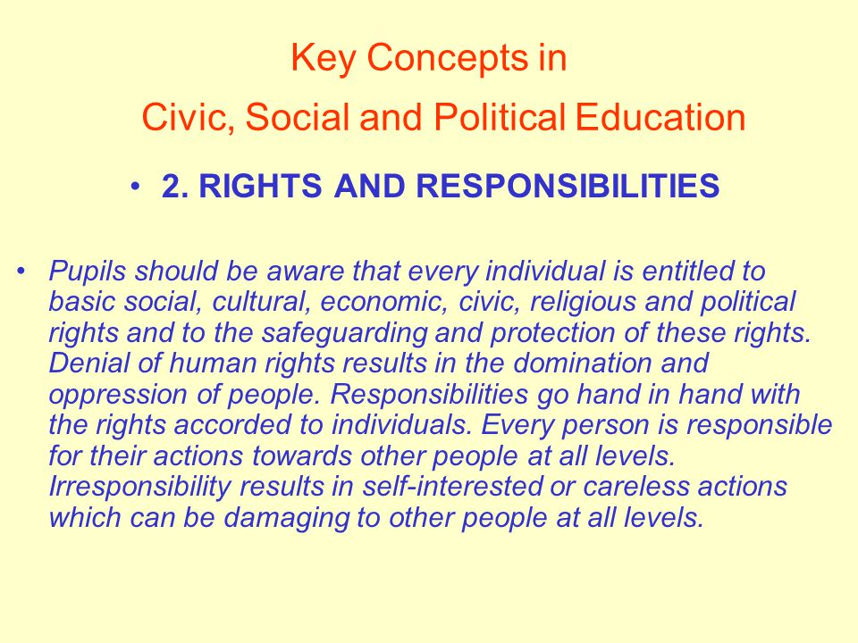 Key Concepts in Civic, Social and Political Education 2.