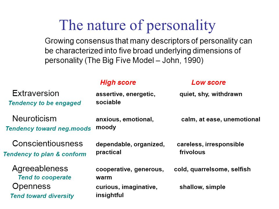 Growing consensus that many descriptors of personality can be characterized into five broad underlying dimensions of personality (The Big Five Model – John, 1990) The nature of personality Extraversion assertive, energetic, quiet, shy, withdrawn sociable Neuroticism anxious, emotional, calm, at ease, unemotional moody Conscientiousness dependable, organized, careless, irresponsible practical frivolous Agreeableness cooperative, generous, cold, quarrelsome, selfish warm Openness curious, imaginative, shallow, simple insightful High scoreLow score Tendency to be engaged Tendency toward neg.moods Tendency to plan & conform Tend to cooperate Tend toward diversity