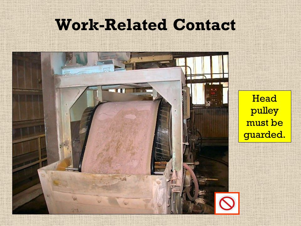 Inadvertent or Work-Related Contact Tail pulley must be guarded underneath to prevent inadvertent contact.