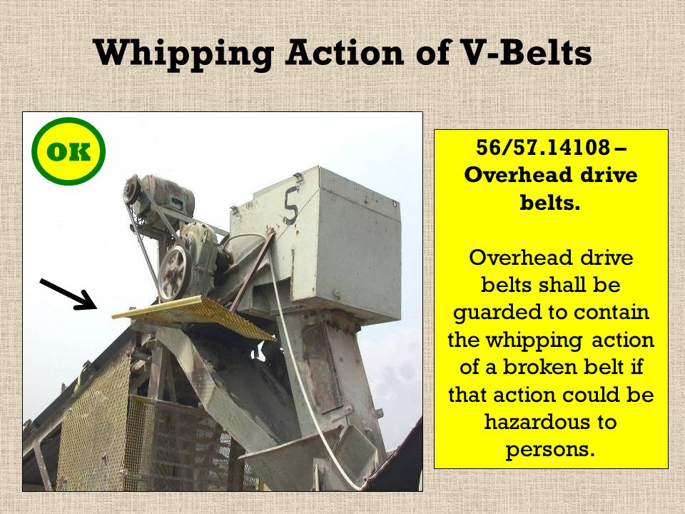 Whipping Action of V-Belts OK 56/57.14108 – Overhead drive belts.