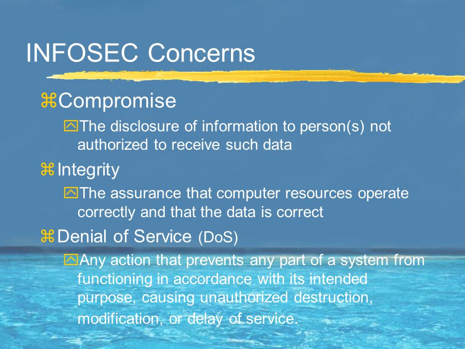 Security Standards & definitions COMPUSEC - Computer Security Measures and controls that ensure confidentiality, integrity, availability of information processed and stored in the computer