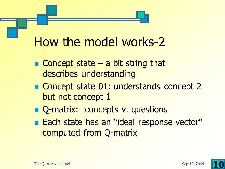 Sep 10, 2004The Q-matrix method 10 How the model works-2 Concept state – a bit string that describes understanding Concept state 01: understands concept 2 but not concept 1 Q-matrix: concepts v.