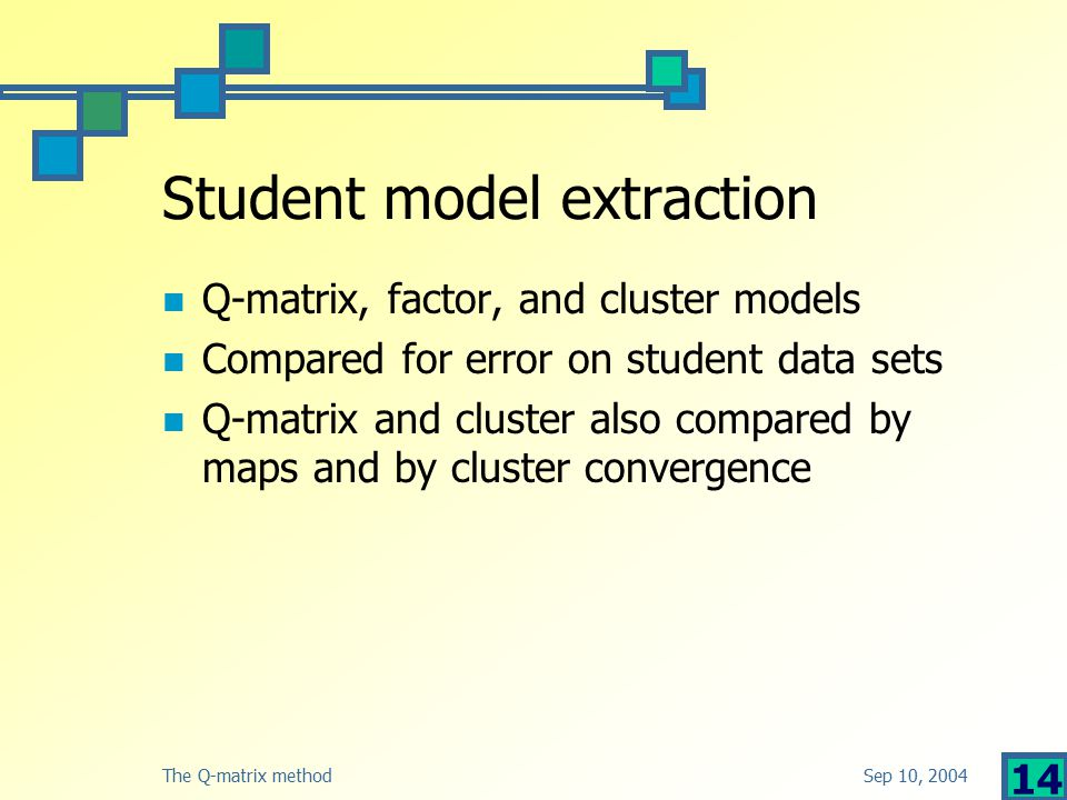 Sep 10, 2004The Q-matrix method 14 Student model extraction Q-matrix, factor, and cluster models Compared for error on student data sets Q-matrix and cluster also compared by maps and by cluster convergence