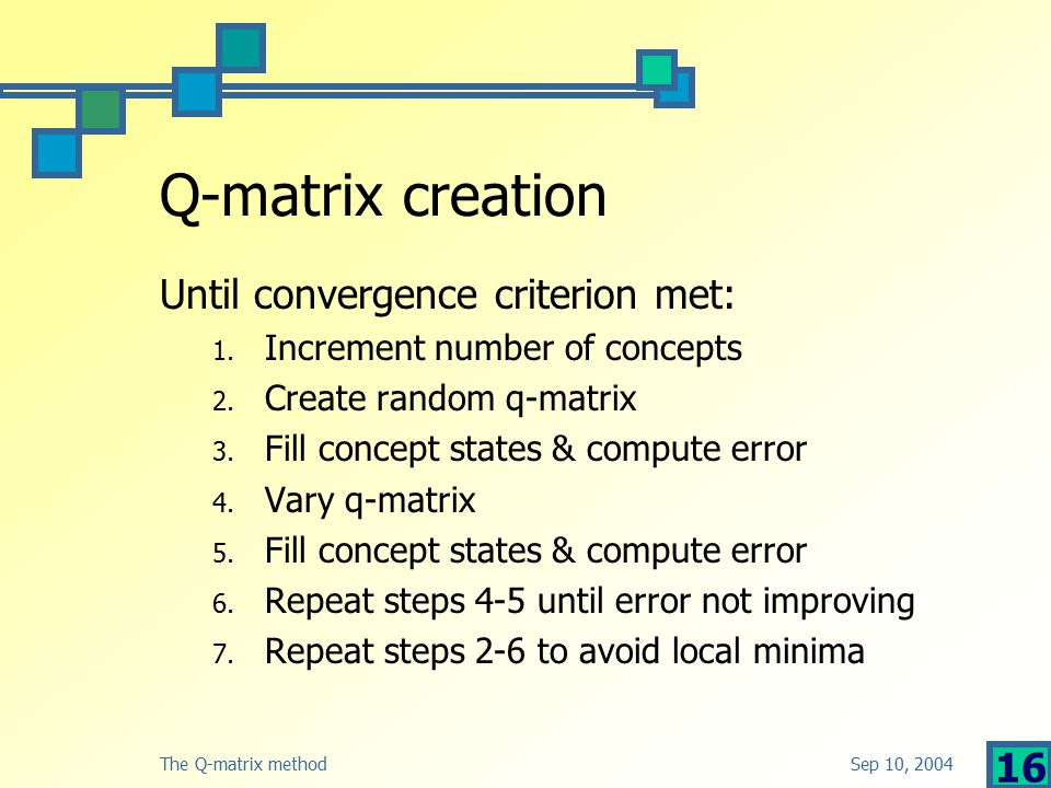 Sep 10, 2004The Q-matrix method 16 Q-matrix creation Until convergence criterion met: 1.