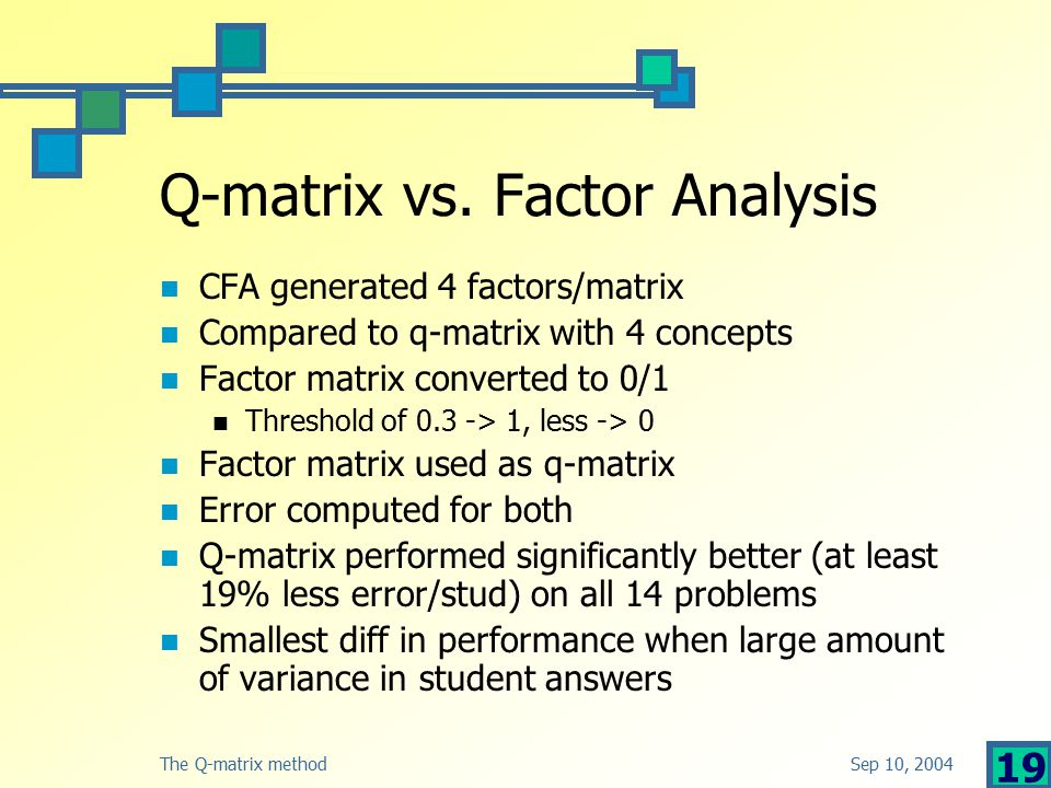 Sep 10, 2004The Q-matrix method 19 Q-matrix vs.