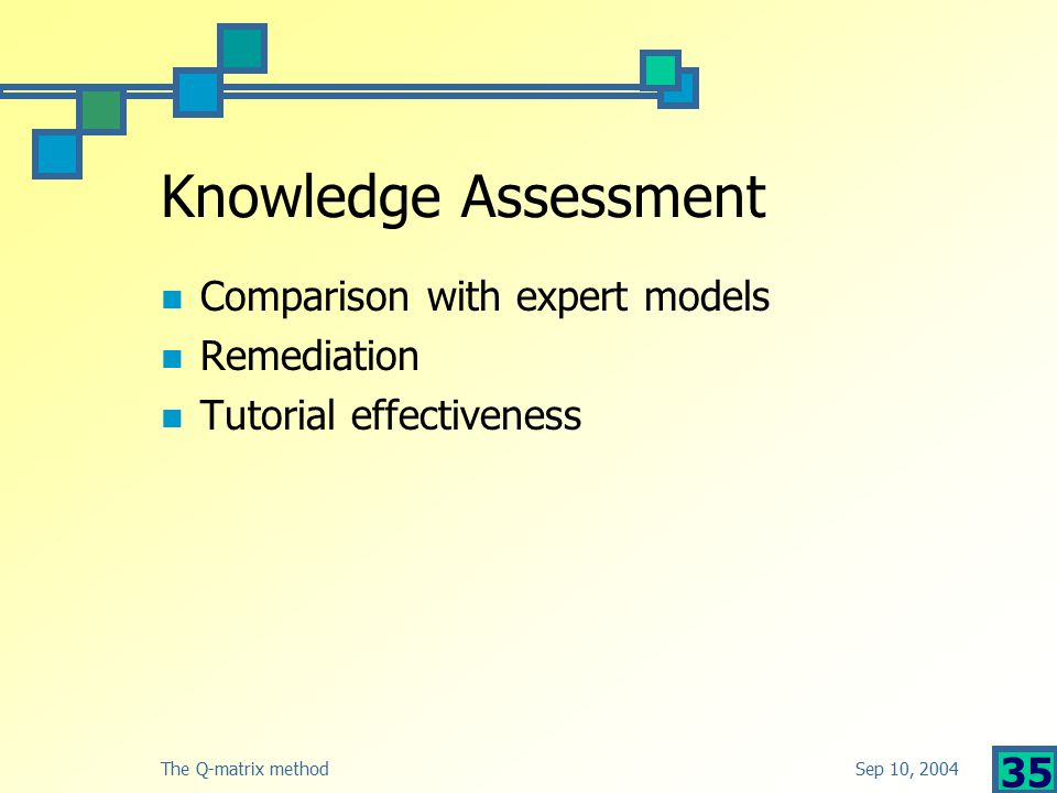 Sep 10, 2004The Q-matrix method 35 Knowledge Assessment Comparison with expert models Remediation Tutorial effectiveness
