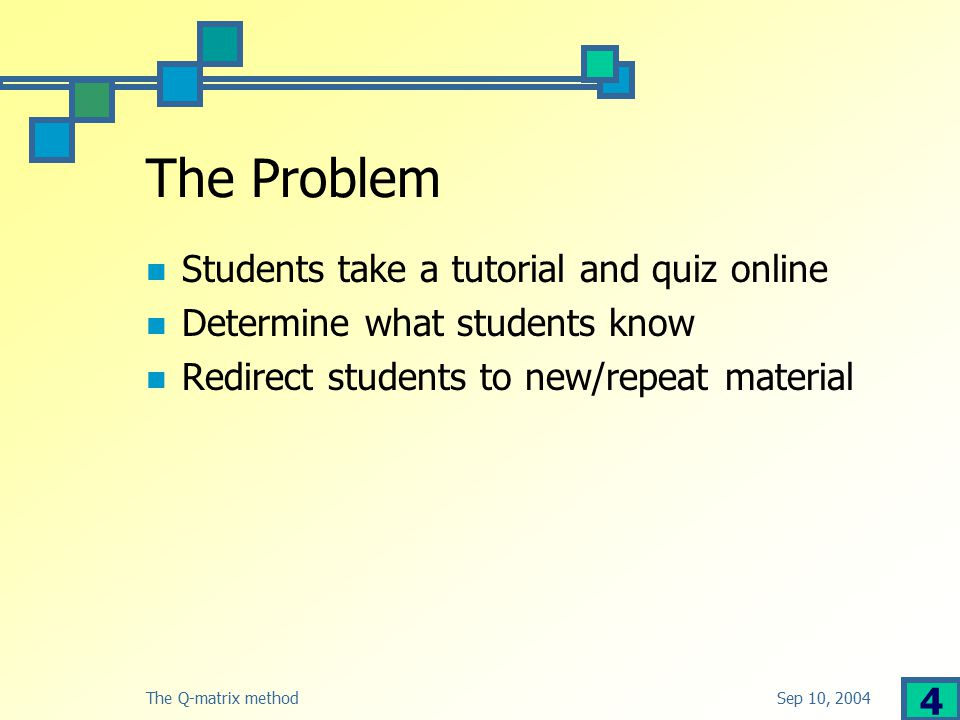 Sep 10, 2004The Q-matrix method 4 The Problem Students take a tutorial and quiz online Determine what students know Redirect students to new/repeat material
