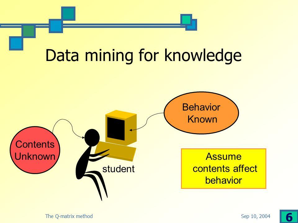 Sep 10, 2004The Q-matrix method 7 Knowledge & student model Concepts Tutorial questions Student responses Student concepts Goal: Mine to extract student concepts