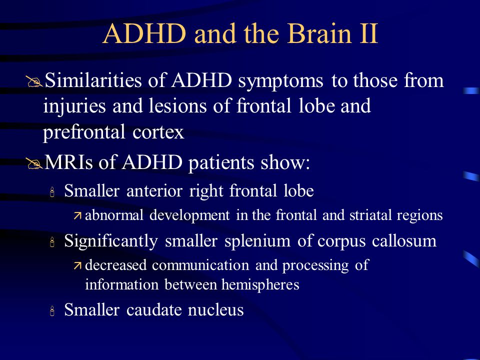 ADHD and the Brain II @Similarities of ADHD symptoms to those from injuries and lesions of frontal lobe and prefrontal cortex @MRIs of ADHD patients show: Smaller anterior right frontal lobe ä abnormal development in the frontal and striatal regions Significantly smaller splenium of corpus callosum ä decreased communication and processing of information between hemispheres Smaller caudate nucleus