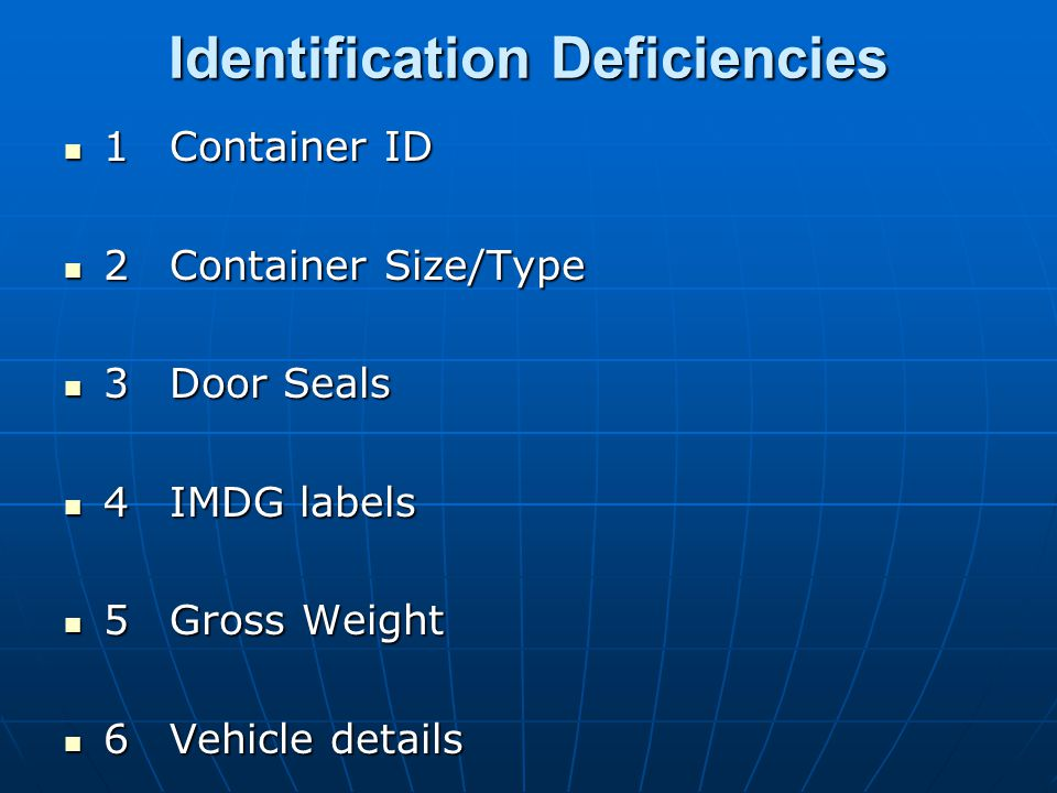 Identification Deficiencies 1Container ID 1Container ID 2Container Size/Type 2Container Size/Type 3Door Seals 3Door Seals 4IMDG labels 4IMDG labels 5Gross Weight 5Gross Weight 6Vehicle details 6Vehicle details