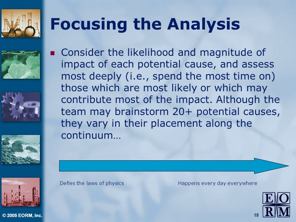 © 2005 EORM, Inc. 18 Focusing the Analysis Consider the likelihood and magnitude of impact of each potential cause, and assess most deeply (i.e., spen