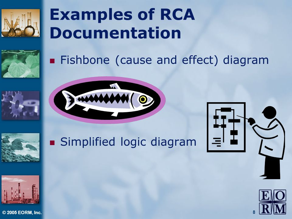 © 2005 EORM, Inc. 8 Examples of RCA Documentation Fishbone (cause and effect) diagram Simplified logic diagram