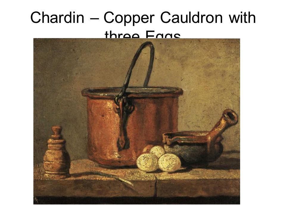 Chardin – Copper Cauldron with three Eggs