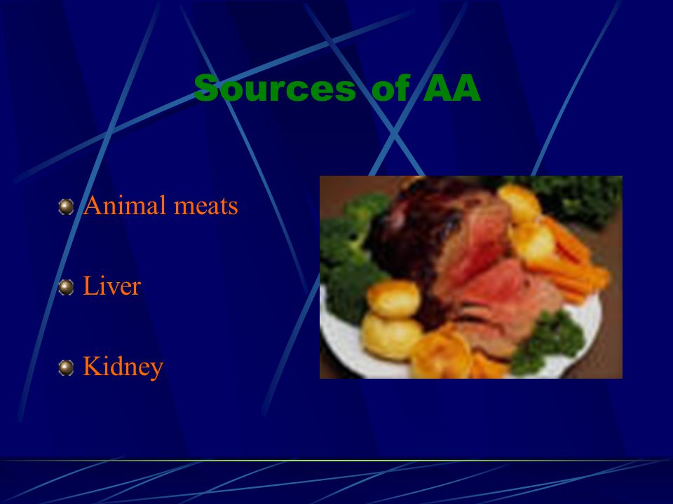Sources of AA Animal meats Liver Kidney