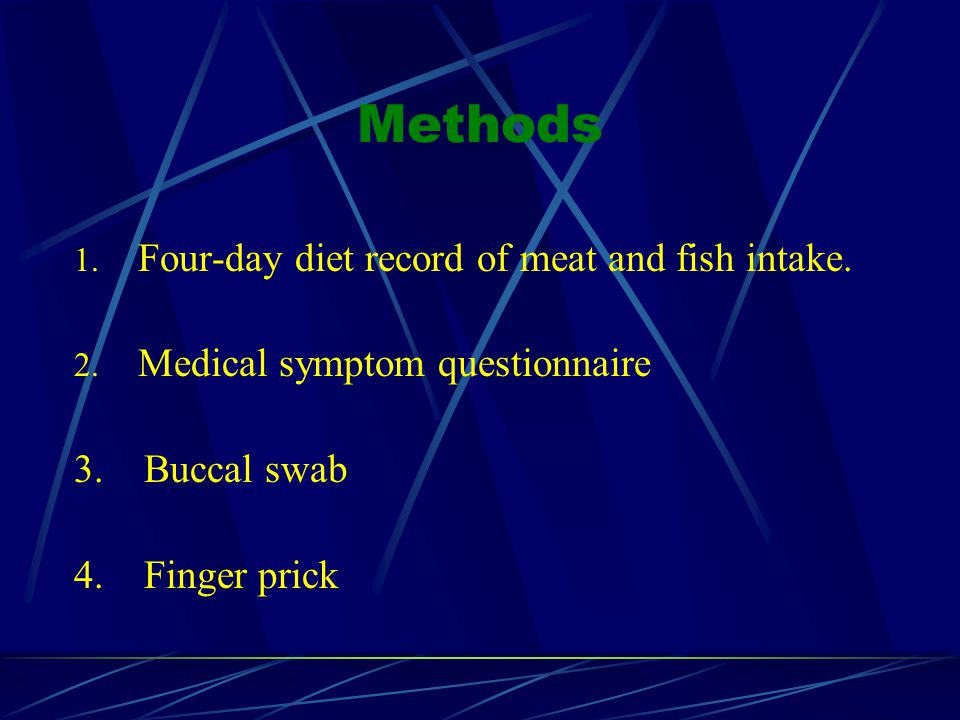 Methods 1. Four-day diet record of meat and fish intake.