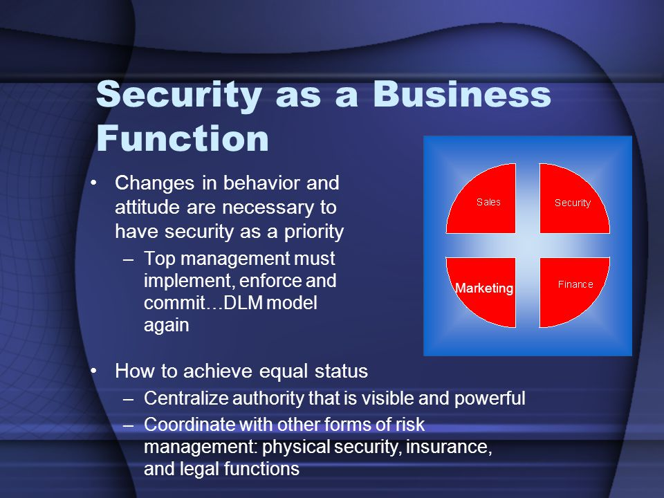 Security as a Business Function Changes in behavior and attitude are necessary to have security as a priority –Top management must implement, enforce and commit…DLM model again How to achieve equal status –Centralize authority that is visible and powerful –Coordinate with other forms of risk management: physical security, insurance, and legal functions Marketing