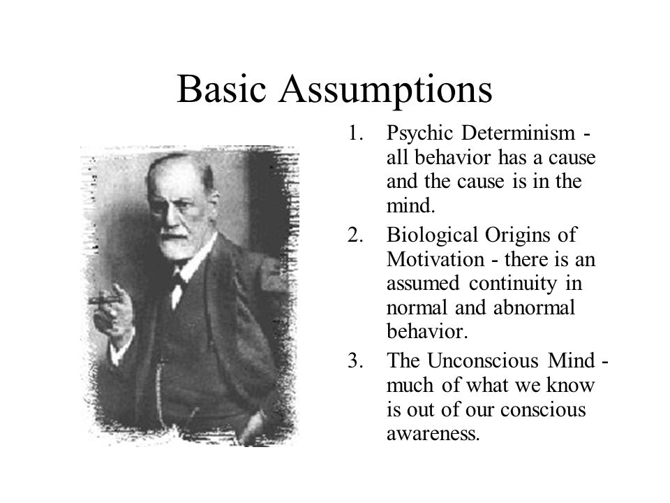 Basic Assumptions 1.Psychic Determinism - all behavior has a cause and the cause is in the mind.