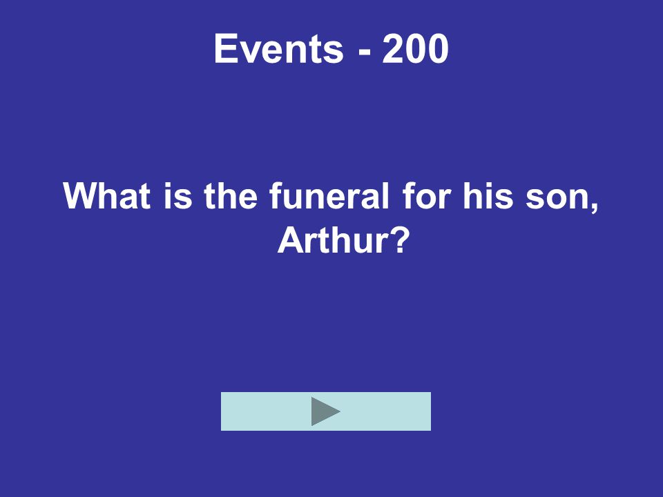 Events - 200 What is the funeral for his son, Arthur?