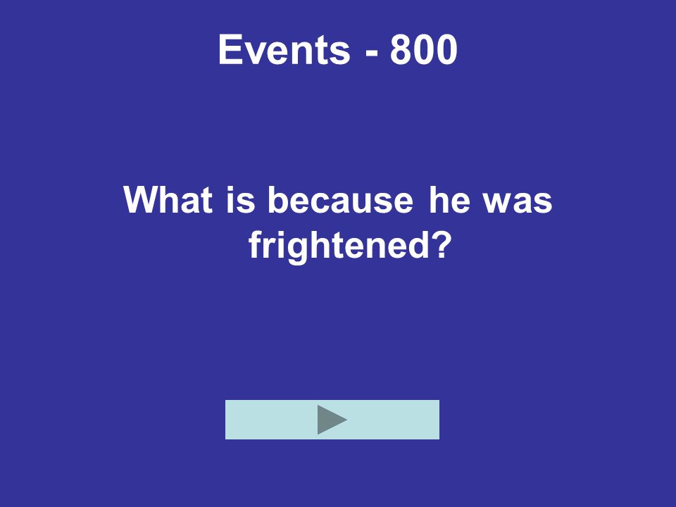 Events What is because he was frightened