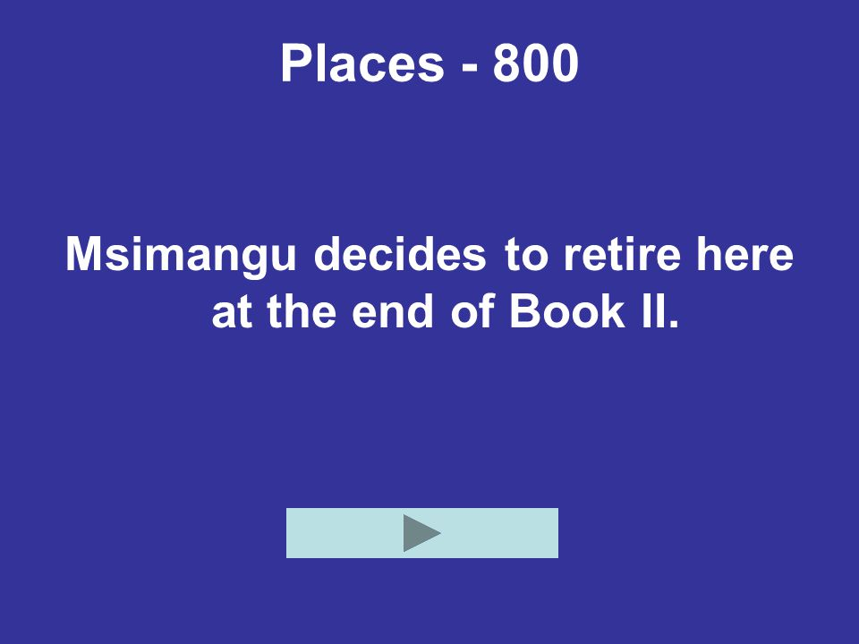 Places Msimangu decides to retire here at the end of Book II.