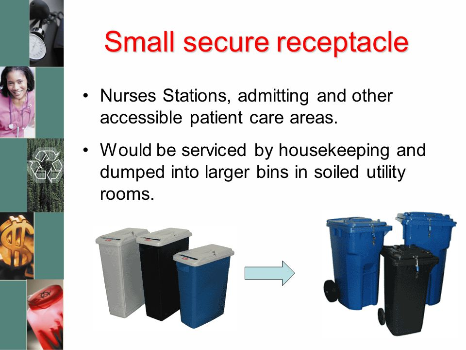 Small secure receptacle Nurses Stations, admitting and other accessible patient care areas.