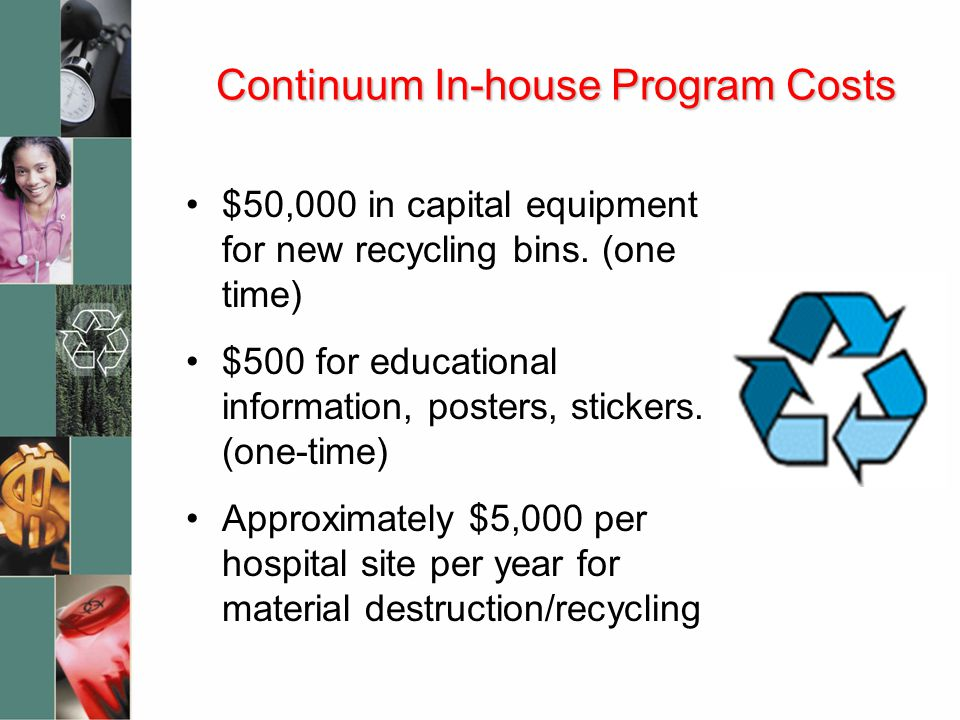 Continuum In-house Program Costs $50,000 in capital equipment for new recycling bins.