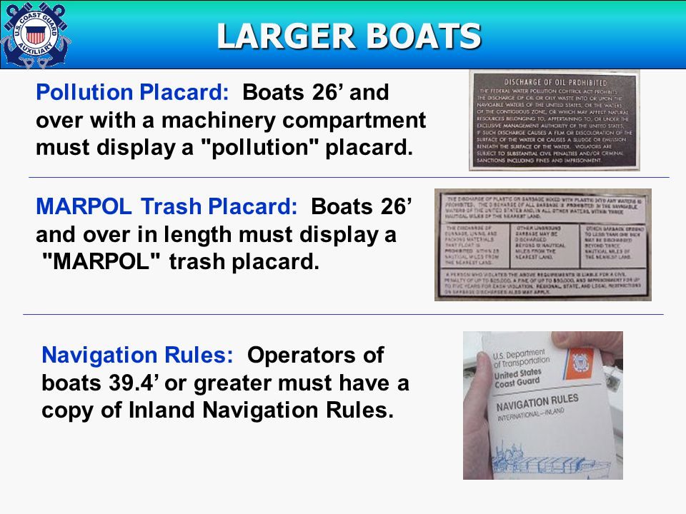 Pollution Placard: Boats 26' and over with a machinery compartment must display a pollution placard.