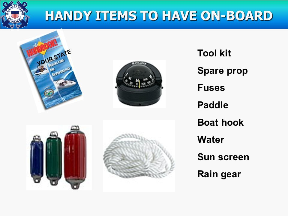 HANDY ITEMS TO HAVE ON-BOARD HANDY ITEMS TO HAVE ON-BOARD YOUR STATE Tool kit Spare prop Fuses Paddle Boat hook Water Sun screen Rain gear