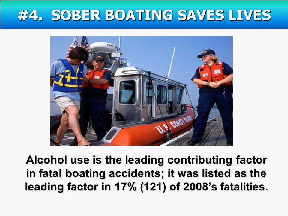 Alcohol use is the leading contributing factor in fatal boating accidents; it was listed as the leading factor in 17% (121) of 2008's fatalities.