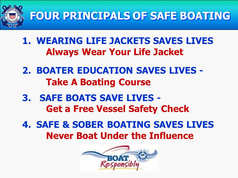 FOUR PRINCIPALS OF SAFE BOATING 1. WEARING LIFE JACKETS SAVES LIVES Always Wear Your Life Jacket 2.