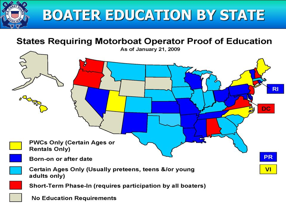 MANDATORY BOATER EDUCATION BOATER EDUCATION BY STATE BOATER EDUCATION BY STATE