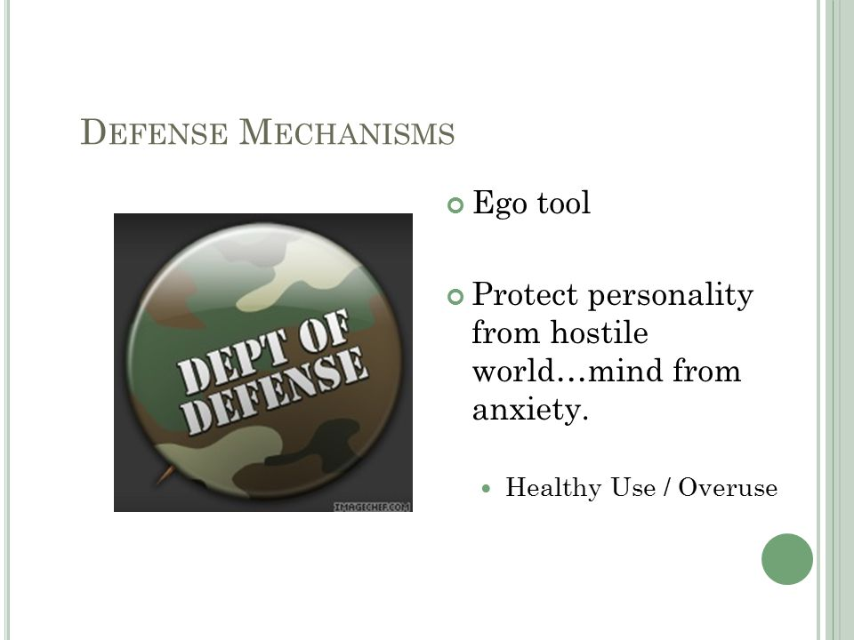 D EFENSE M ECHANISMS Ego tool Protect personality from hostile world…mind from anxiety.