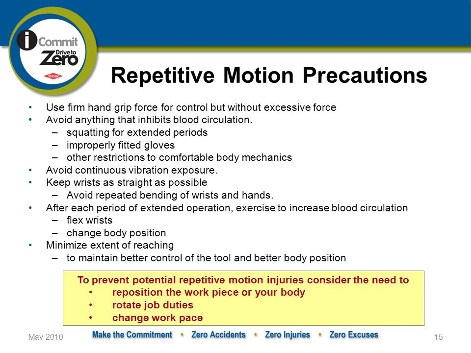 May 201015 Repetitive Motion Precautions Use firm hand grip force for control but without excessive force Avoid anything that inhibits blood circulation.