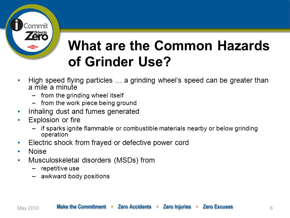 May 20106 What are the Common Hazards of Grinder Use.