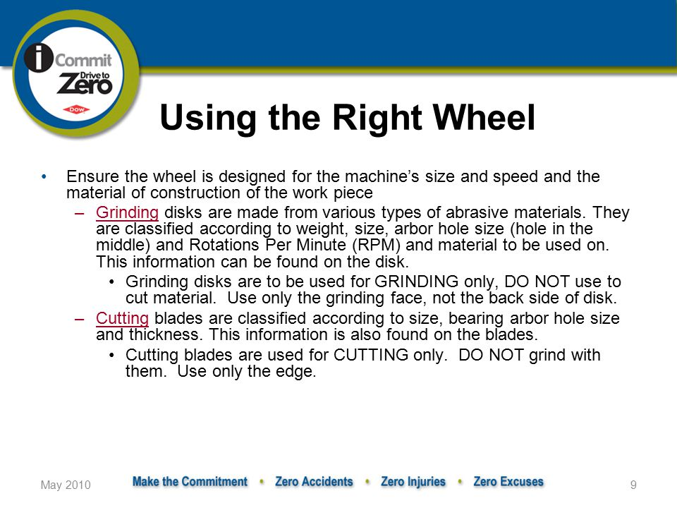 May 20109 Using the Right Wheel Ensure the wheel is designed for the machine's size and speed and the material of construction of the work piece –Grinding disks are made from various types of abrasive materials.