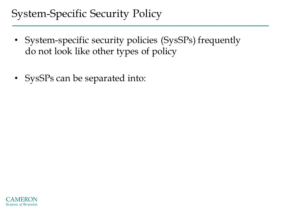 System-Specific Security Policy System-specific security policies (SysSPs) frequently do not look like other types of policy SysSPs can be separated i