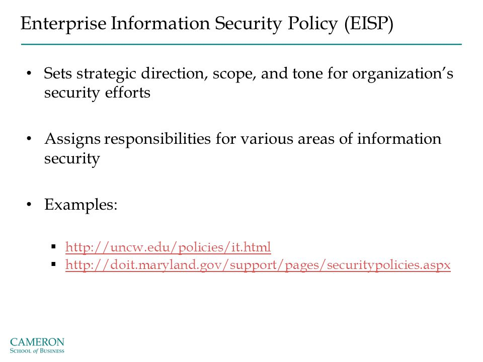 Enterprise Information Security Policy (EISP) Sets strategic direction, scope, and tone for organization's security efforts Assigns responsibilities f