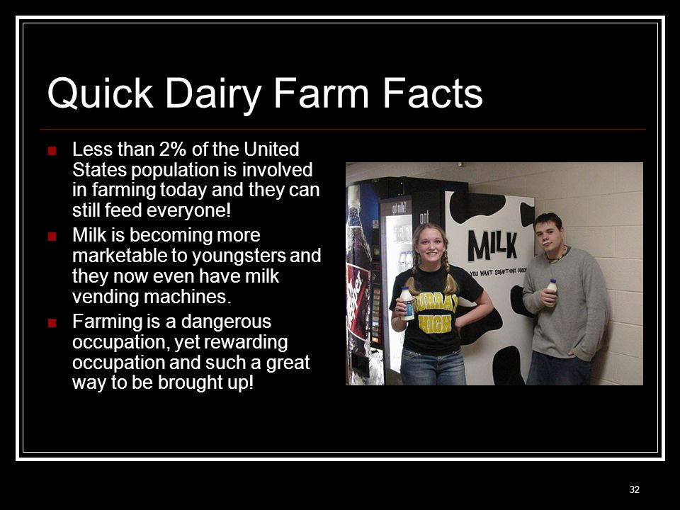 32 Quick Dairy Farm Facts Less than 2% of the United States population is involved in farming today and they can still feed everyone! Milk is becoming