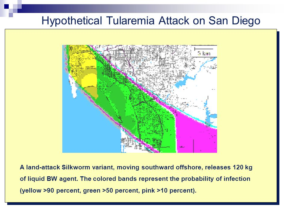 Hypothetical Tularemia Attack on San Diego A land-attack Silkworm variant, moving southward offshore, releases 120 kg of liquid BW agent.