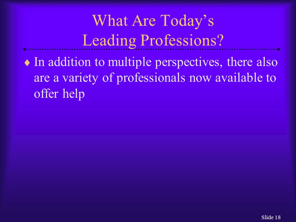 Slide 18 What Are Today's Leading Professions.