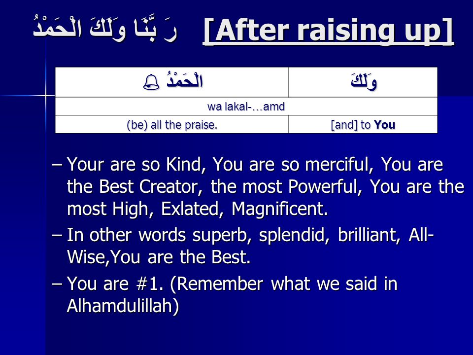 رَ بَّنَا وَلَكَ الْحَمْدُ [After raising up] –Your are so Kind, You are so merciful, You are the Best Creator, the most Powerful, You are the most High, Exlated, Magnificent.